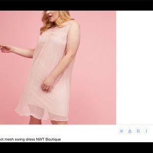 Lane Bryant Pleated dot mesh dress. Dusty rose